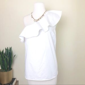 Loft one shoulder ruffle blouse